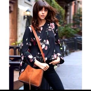 Vince Camuto Black Floral Bell Sleeve Blouse 2X